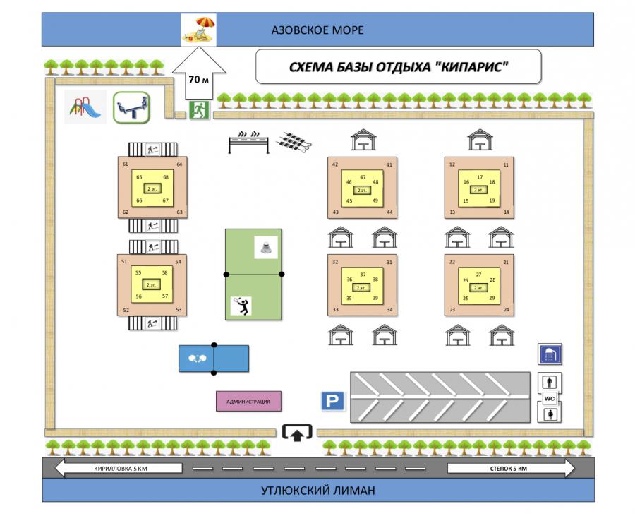 схема базы отдыха Кипарис